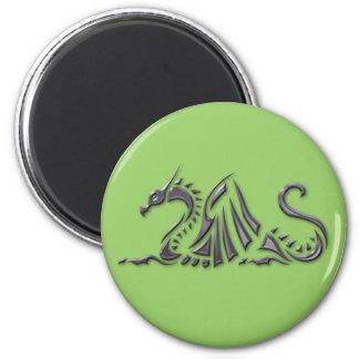 Silver Metallic Sea Dragon 6 Cm Round Magnet