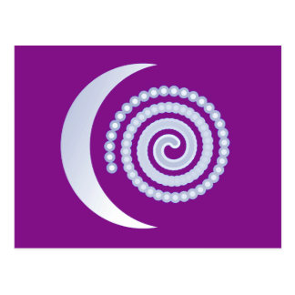 Silver Moon Spiral on purple Postcard