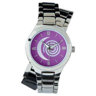 Silver Moon Spiral on purple Watch
