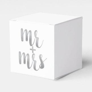 Silver mr. & mrs. favor boxes party favour box