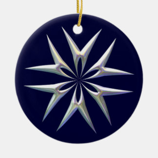 SILVER OPAL STAR by SHARON SHARPE Round Ceramic Decoration