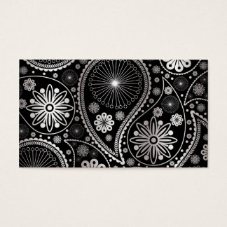 Silver Paisley Pattern Business Card
