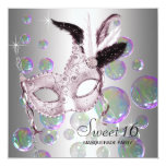 Silver Pink Bubbles Sweet Sixteen Masquerade Party 13 Cm X 13 Cm Square Invitation Card