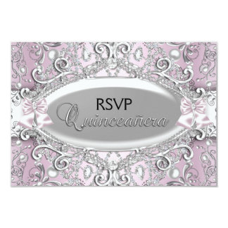 Silver & Pink Damask Pearl Quinceanera RSVP Card