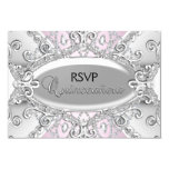 Silver & Pink Diamond Damask Quinceanera RSVP 9 Cm X 13 Cm Invitation Card