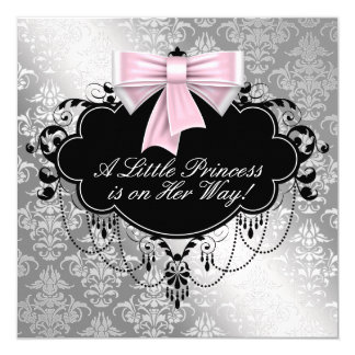 Silver Pink Princess Baby Shower Card