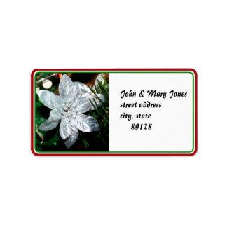 Silver Poinsettia Ornament Label