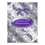 Silver Purple Damask Elegant Purple Quinceanera Announcement