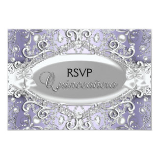 Silver & Purple Damask Pearl Quinceanera RSVP Card