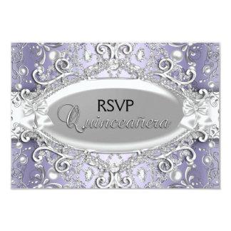 "Silver & Purple Damask Pearl Quinceanera RSVP 3.5"" X 5"" Invitation Card"