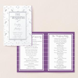 Silver Purple Foil Vintage Damask WEDDING PROGRAM Foil Card