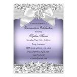Silver Purple Glitter & Jewel Bow Quinceanera 13 Cm X 18 Cm Invitation Card