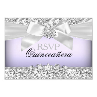 Silver Purple Glitter & Jewel Bow Quinceanera RSVP Card