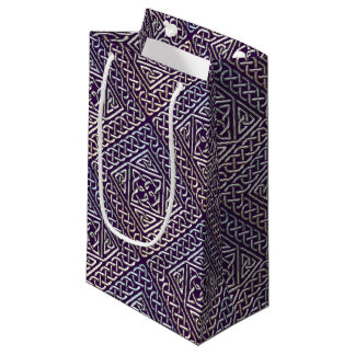 Silver Purple Square Shapes Celtic Knots Pattern Small Gift Bag