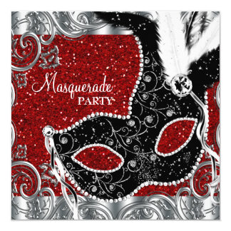 Silver Red and Black Mask Masquerade Party Card