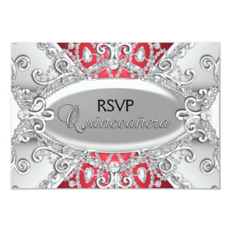 Silver & Red Diamond Damask Quinceanera RSVP 9 Cm X 13 Cm Invitation Card