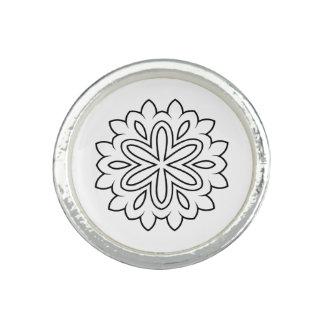 Silver ring with Mandala art