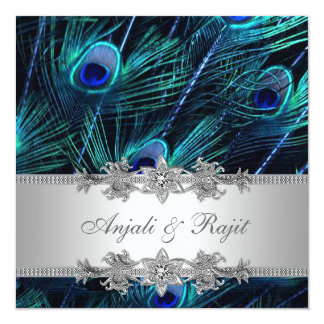 "Silver Royal Blue Peacock Wedding 5.25"" Square Invitation Card"