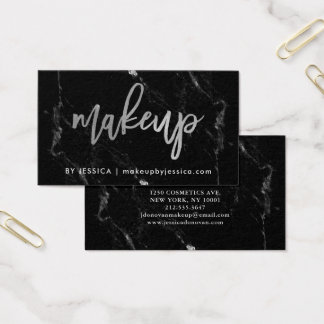 Silver Script on Black Marble | Makeup Business Card