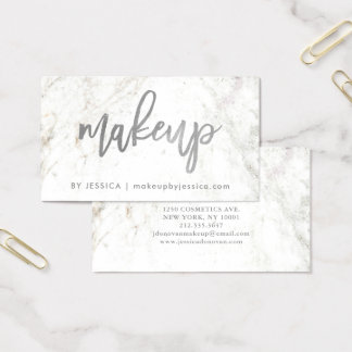 Silver Script on White Marble | Makeup Business Card