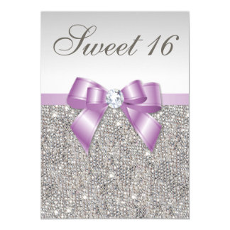 Silver Sequins Lilac Faux Bow Sweet 16