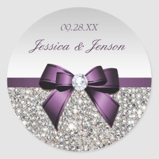 Silver Sequins Purple Bow and Diamond Wedding