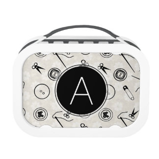Silver Sewing Pattern with Monogram Lunchboxes