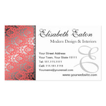 Silver Shimmer Peach Damask Elegant Woman's Business Card Template
