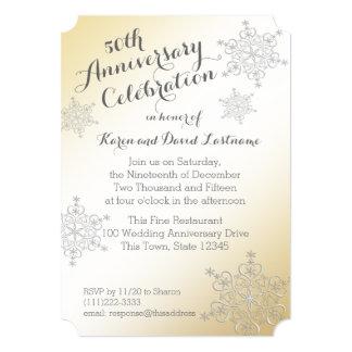 Silver Snowflake Golden 50th Wedding Anniversary Invite