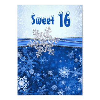 Silver snowflake on blue Sweet 16 Party 4.5x6.25 Paper Invitation Card