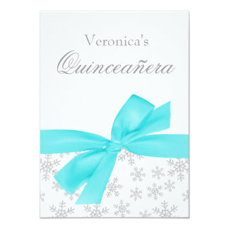 Silver Snowflakes Teal Bow Quinceanera Invitations