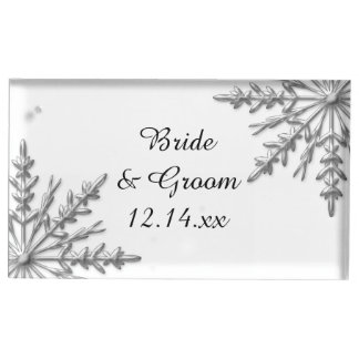 Silver Snowflakes Winter Wedding Table Number Holder