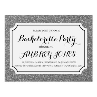 Silver Sparkle Bling Bachelorette Party Invitation Postcard