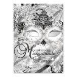 Silver Sparkle Mask Masquerade Quinceanera 13 Cm X 18 Cm Invitation Card