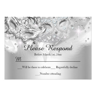 Silver Sparkle Masquerade RSVP Reply Custom Announcement