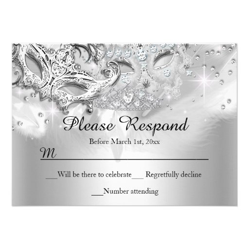Silver Sparkle Masquerade RSVP Reply Custom Announcement