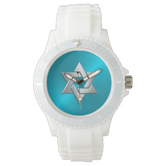 Silver Star of David on Turquoise Watch