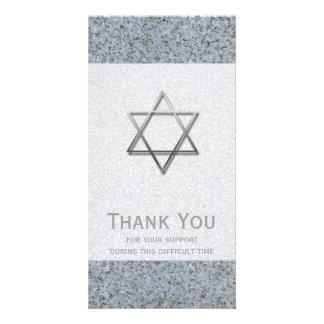 Silver Star of David Stone 1 Sympathy Thank You - Photo Card