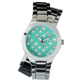 Silver stars on turquoise watch