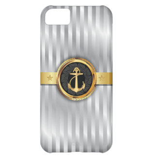 Silver Stripes Gold Anchor iPhone 5 Case