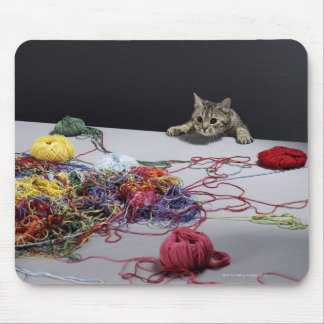 Silver tabby cat climbing over edge of table mouse pad