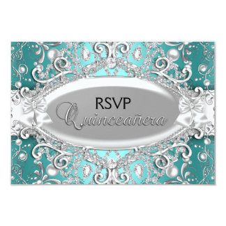 Silver & Teal Damask Pearl Quinceanera RSVP Card