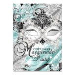 Silver Teal Sparkle Mask Masquerade Quinceanera 13 Cm X 18 Cm Invitation Card