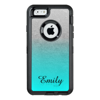 Silver Tone Aqua Ombre Personalised OtterBox iPhone 6/6s Case
