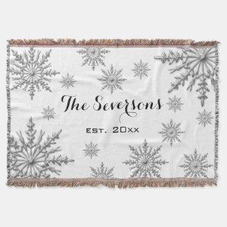 Silver Tone Winter Snowflakes on White Throw Blanket