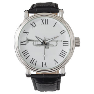 Silver trumpet and roman numbers wrist watch