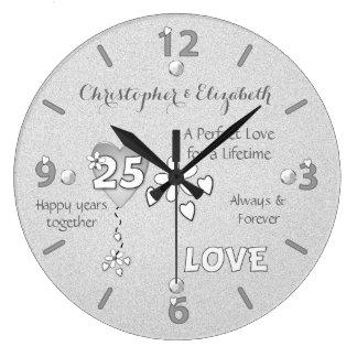 Silver Wedding 25th Anniversary Clock