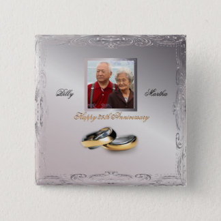 Silver Wedding Anniversary 15 Cm Square Badge