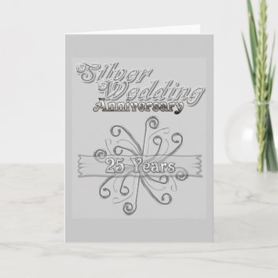 Silver Wedding Anniversary 25 Years Greeting Card by LollyPoPDesigns