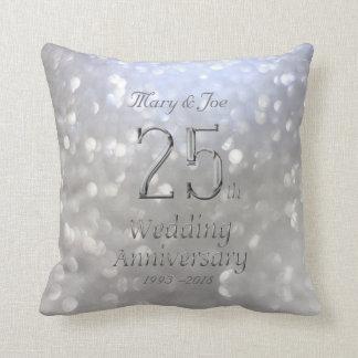 Silver Wedding Anniversary 25th Anniversary Bokeh Cushion
